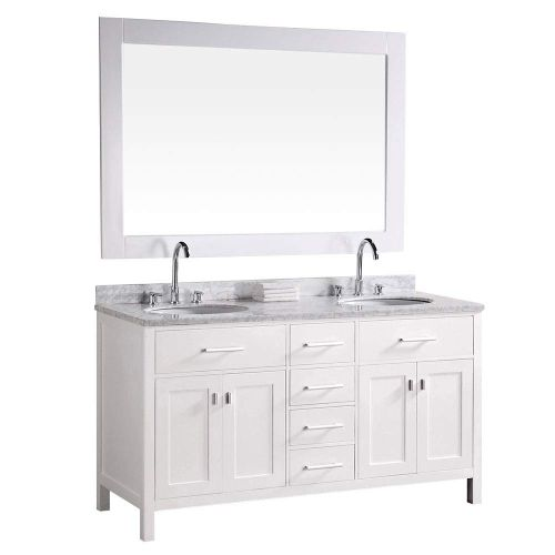 Luca Kitchen & Bath LC61CWW Geneva 61inch Double Vanity Set in White with Carrara Marble Top