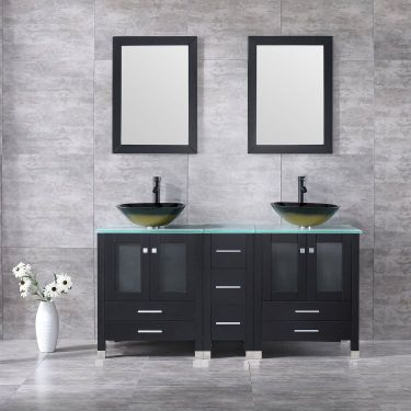Walcut Black 60 Inch Bathroom Vanity and Sink Combo Double Cabinet with Double Glass Vessel Sink and Faucet Pop Up Drain